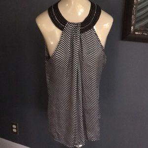 Piano black/white dot chain & crystal collar top